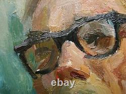 Russe Ukrainien Soviétique Peinture À L'huile Réalisme Impressionnisme Homme Portrait Masculin