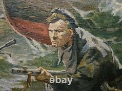 Russe Ukrainien Soviétique Peinture À L'huile Réalisme Marins Militaires Luttent Armée Ww2