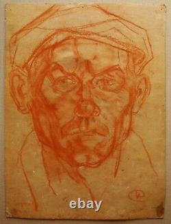 Russe Ukrainien Soviétique Peinture Expressionnisme Homme Ouvrier Portrait Homme Chapeau