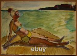 Russe Ukrainien Soviétique Peinture Postimpressionnisme Figure Féminine Nue Plage