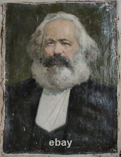 Russe Ukrainien Soviétique Urss Peinture À L'huile Réalisme K. Marx Portrait Communiste