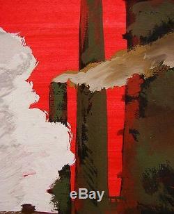 Russe Ukrainienne Soviétique Gouache Réalisme Usine De Peinture Industrielle Rouge