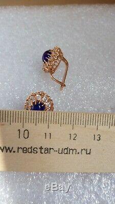 Russe Urss Soviétique Corindon Boucles D'oreilles Rose Massif 14k Or 583/585