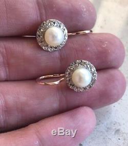Russe Vintage Or Rose Et Or Blanc Perle 583 14k Urss Bijoux