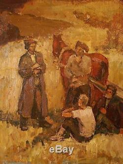Russian Ukrainian Soviet Oil Painting Réalisme Rural Ouvrier Agricole