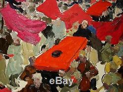 Russian Ukrainian Soviet Oil Painting Réalisme Staline Funéraires Rare