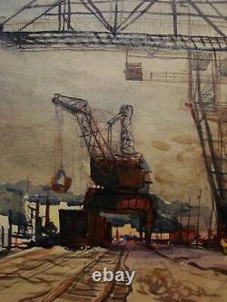 Russie Ukraine Soviétique Aquarelle Réalisme Industriel Peinture Port Grue De Chargement