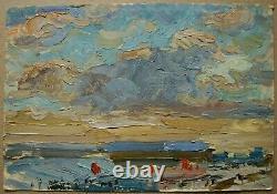 Russie Ukraine Soviétique Huile Peinture Impressionnisme Paysage Ciel Horizon