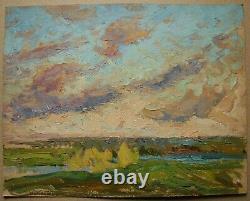 Russie Ukraine Soviétique Huile Peinture Impressionnisme Paysage Ciel Nuages Rivière