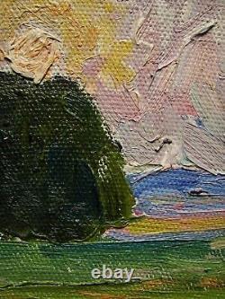 Russie Ukraine Soviétique Huile Peinture Impressionnisme Paysage Lever Du Soleil Arbre