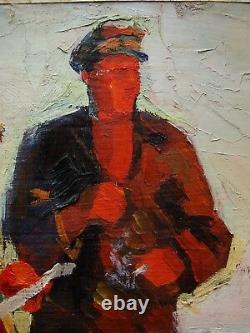 Russie Ukraine Soviétique Huile Peinture Réalisme Artiste Études Village Kolkhoz