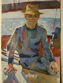 Russie Ukraine Soviétique Huile Peinture Réalisme Portrait Homme Figure Homme Chapeau Bateau