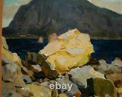 Russie Ukraine Soviétique Peinture À L'huile Impressionnisme Paysage Marin Mer Noire Gurzuf