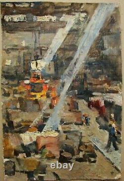 Russie Ukraine Soviétique Peinture À L'huile Industriel Réalisme Usine Usine Atelier