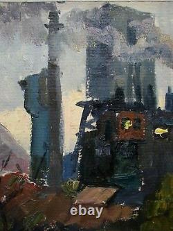 Russie Ukraine Soviétique Peinture À L'huile Paysage Industriel Usine Réalisme