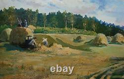 Russie Ukrainian Soviétique Huile Peinture Réalisme Fille Fermier Chiffres Récolte
