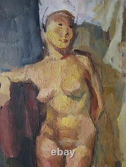 Russie Ukrainian Soviétique Peinture À L'huile Figure Féminine Nue Fille Réalisme