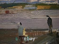 Russie Ukrainian Soviétique Peinture À L'huile Impressionnisme Paysage Industriel Rivière