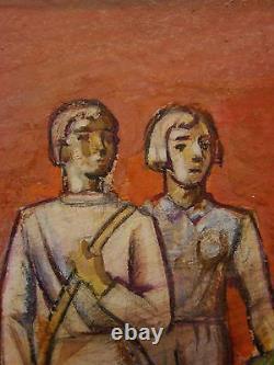 Russie Ukrainien Huile Soviétique Peinture Croquis Murale Histoire De L'espace Urss Nation