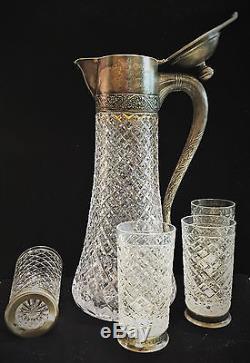 Service À Vin Vintage En Argent Et En Cristal Taillé De Russie, Moscou, Circa 1960