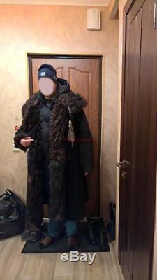 Soldat De L'armée Russe Hiver Tulup Big Manteau Militaire En Peau De Mouton Bekesha Urss