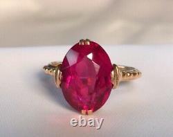 Solid Rose Gold 583 14k Ring Lab Ruby Corundum Taille 6,5 Vintage Soviétique Russe