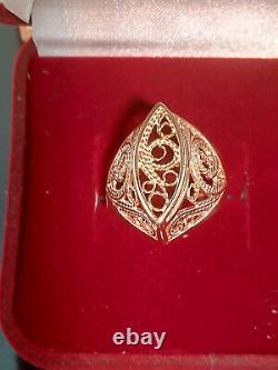 Soviet Antique Anneau Vintage Russie Urss Bijoux Or Star 14k 585 4,84 Grammes