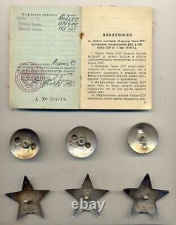 Soviet Russie Urss Complet Documenté Groupe Avec 3x Ordres De L'étoile Rouge