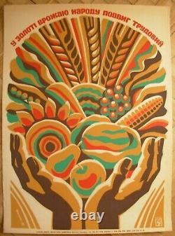 Soviet Ukrainien Original Sérigraphie Poster Travail Exploit Dans L'or De La Récolte