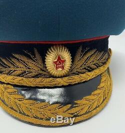 Soviétique Russe Tank General / Marechal Visor Chapeau 1960-1970 Robe Parade Cap Sz 59