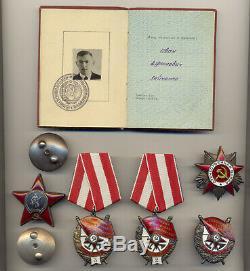 Soviétique Urss Russe Documenté Groupe Avec 3 Ordre Du Drapeau Rouge