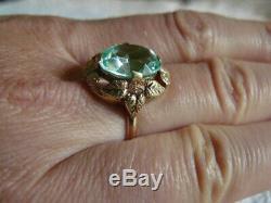 Superbe Bague Aigue-marine Russe Bijoux Vintage Ussr Gold Stamp 14k 583 Star Stamp