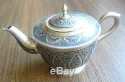 Théière Soviétique Russe En Argent 875, Théière Doré Nielloed, Usine De Kubachi Des Années 1970