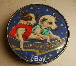 Tin Box Soviétique Soviétique Space Belka Strelka Laika Chien Roket 1960 Kosmos
