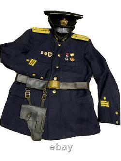 Tunique Uniforme De La Seconde Guerre Mondiale, Veste+chapeau Capitaine De Marine De La Marine Soviétique Russe Rare