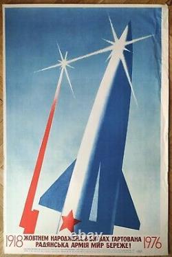 Ukraine Original Poster Armée Soviétique Protéger La Paix Urss Propagande Fusée Spatiale