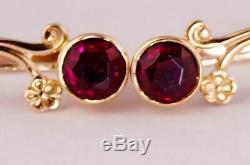 Urss D'origine Russe Vintage Soviétique Solide Or Rose 14k 583 Boucles D'oreilles Rubis 2,85 G
