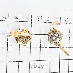 Urss Russe Soviétique Boucles D'oreilles Rose Massif 14k 583 (585) Or 4.25 Gr