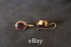 Urss Russe Soviétique Vintage 14k Boucles D'oreilles En Or Rose Avec Améthyste Alexandrites