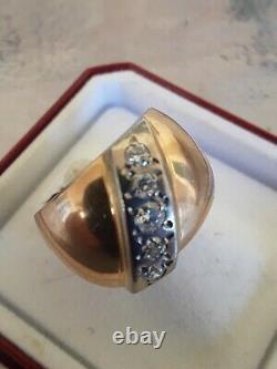 Urss Soviétique Anneau D'or Russe Avec Diamants Yakutia Authentiques 14k 583