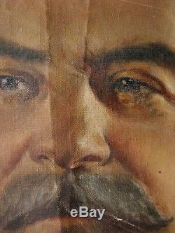 Urss Soviétique De Russie Ukraine Peinture À L'huile Portrait Staline Propagande Réalisme