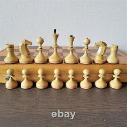Valdai Nobles Jeu D'échecs Soviétique 60s En Bois Russe Vintage Urss Antique