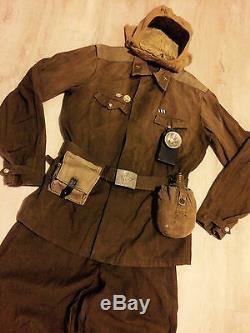 Veste D'uniforme Russe (l) + Chapeau + Ceinture + Sac + Lampe De Poche Style Ww-2