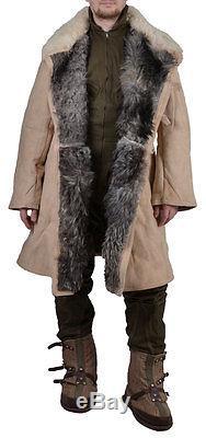 Veste En 100% Peau De Mouton Blanche Original Homme Militaire En Train De Pêcher L'urss Armée Russe
