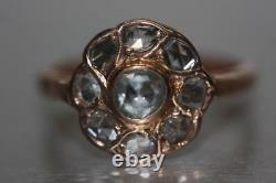 Vintage 14k/583 Bague Diamant Rose Russe Soviétique