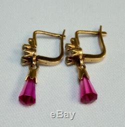 Vintage Boucles D'oreilles Étoile Russe Bijoux Urss Soviétique En Or 14k 583 Briolette Ruby