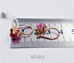 Vintage Boucles D'oreilles Rétro Russie Soviet Urss Bijoux Or 14k 583 Rubis