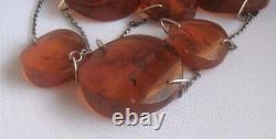 Vintage Cognac Baltic Amber Necklace, Russian Solid Silver 875 Étoile Soviétique Des Années 1970