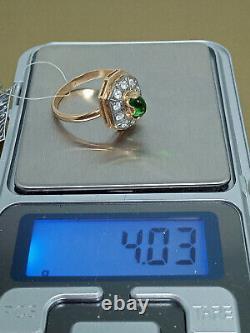 Vintage Exquise Ring Russie Soviet Urss Bijoux Or 14k 585 Star Cabochon