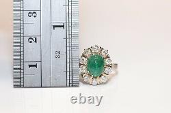 Vintage Original Or 18 Carats Diamant Naturel Et Émeraude Russe Anneau Soviétique